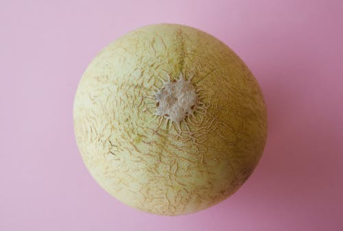 Whole yellow melon on pink surface