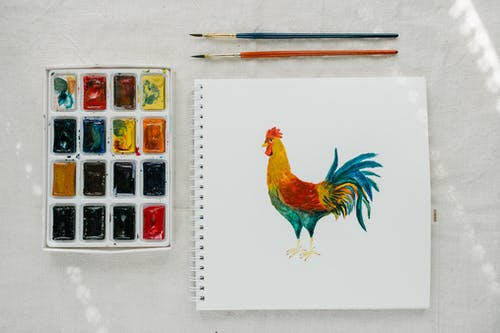 Picture of cock painted with watercolors placed on table