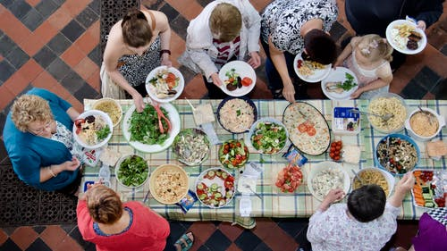 Fotos de stock gratuitas de buffet, vista aérea