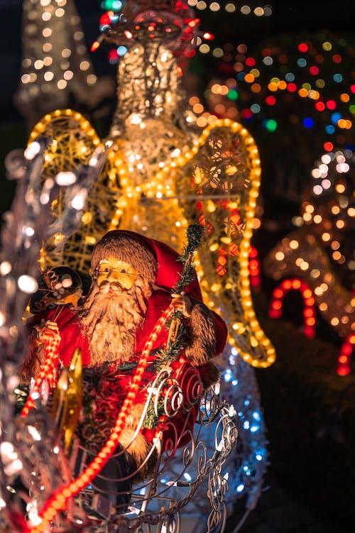 Santa Claus Figurine with Multi Colored Lights