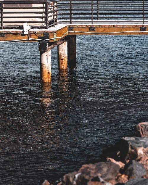 Brown Wooden Structure on Body of Water