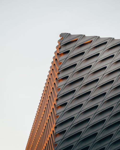 Gray Concrete Building with Geometric Design