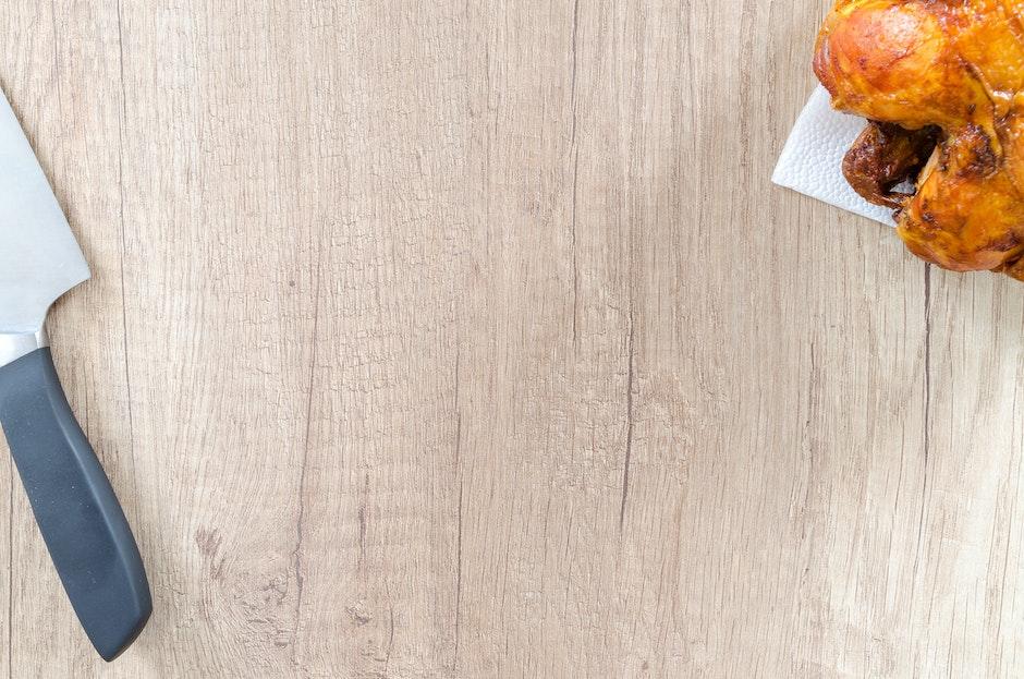 calories, chicken, chopping board