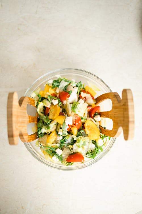Vegetable Salad in Clear Glass Bowl