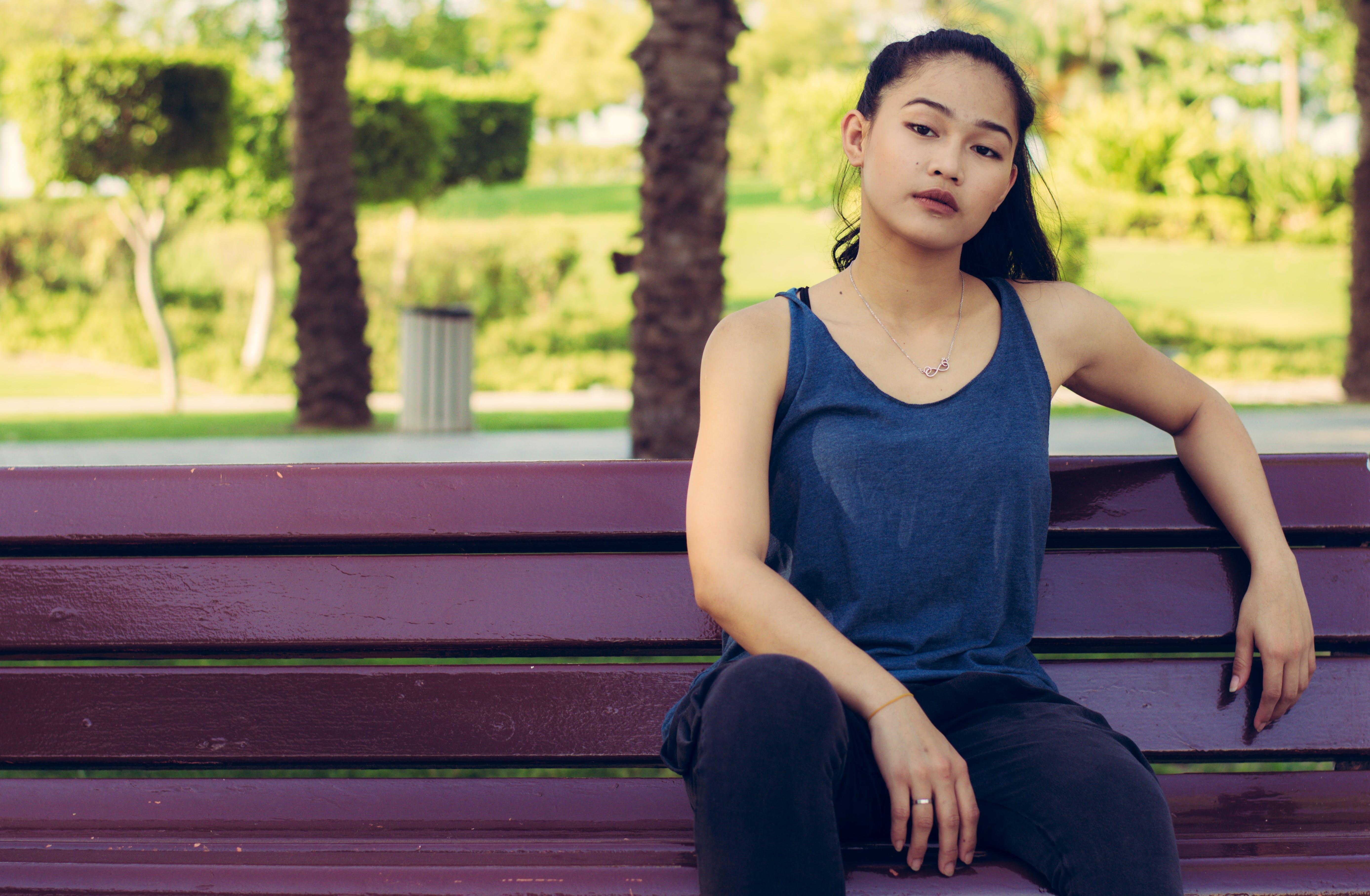 beautiful, bench, girl
