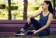 bench, person, woman