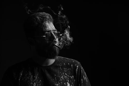 Black-and-White Photo of a Bearded Man with Sunglasses Smoking Cigarette
