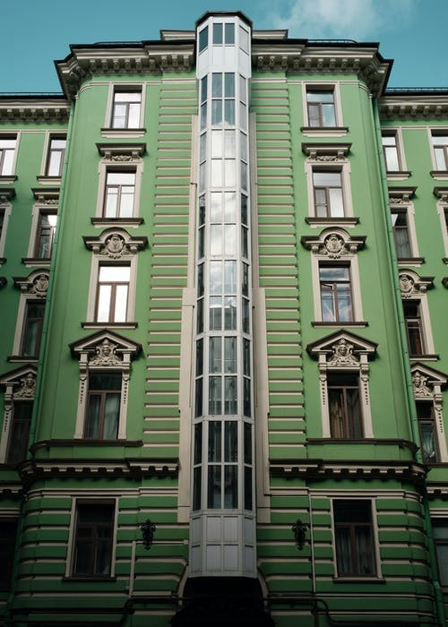 Low-Angle Shot of a Green Building