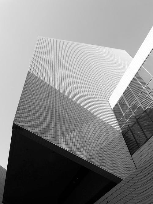Contemporary facade of building in city street