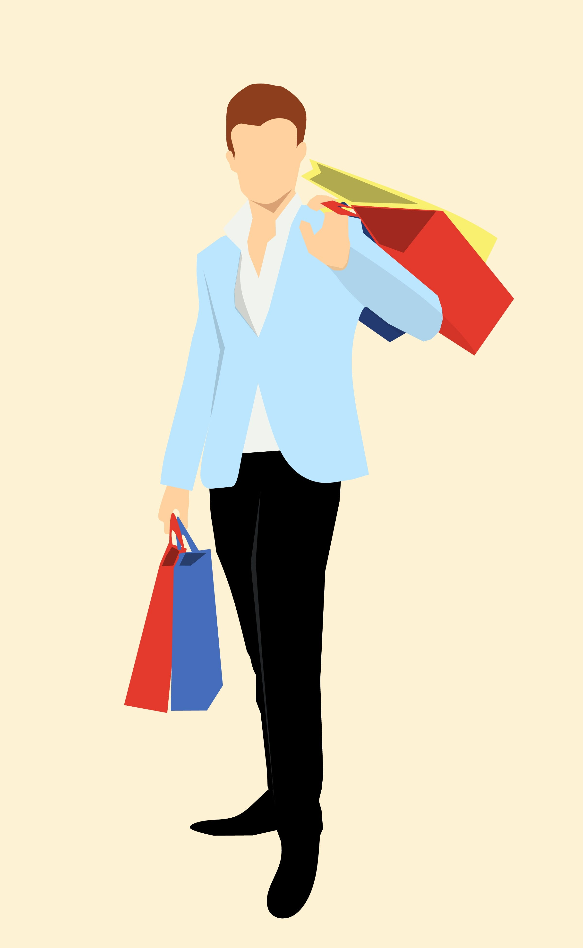 Free stock photo of adult, bags, buyer, color