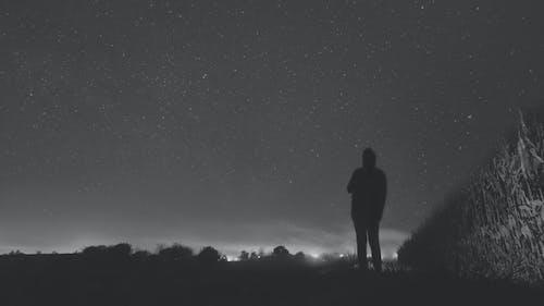 Ilmainen kuvapankkikuva tunnisteilla kenttä, mustavalkoinen, siluetti, tähdet
