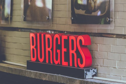 Red Burgers Freestanding Letter on Wall