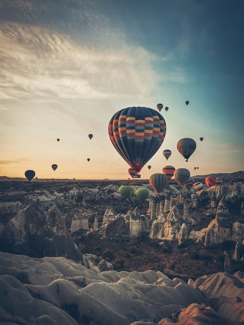 Flying Hot Air Balloons in the Sky