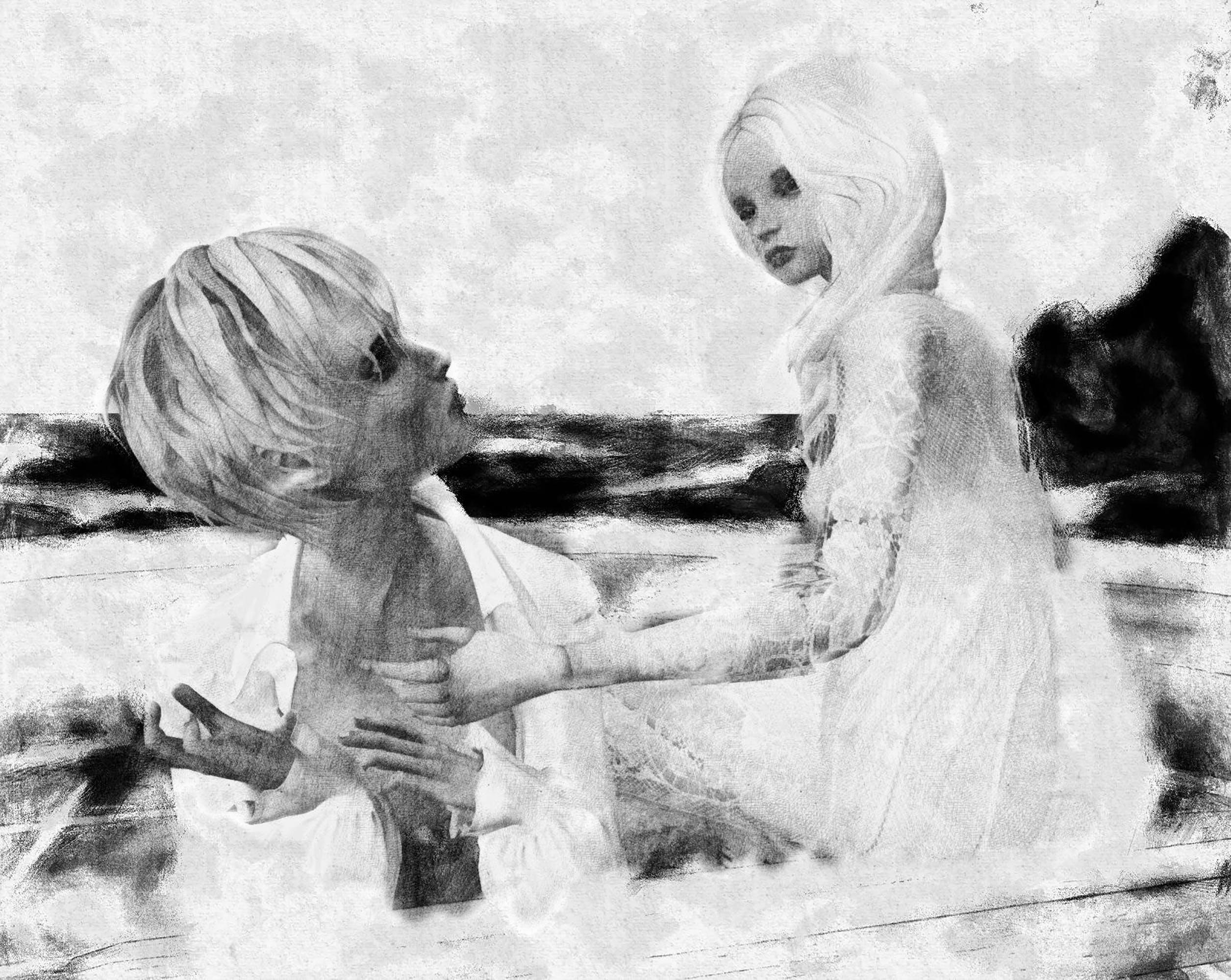 Free stock photo of couple, dolls, black and white