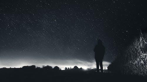 Ilmainen kuvapankkikuva tunnisteilla kentät, mustavalkoinen, tähdet, taivas