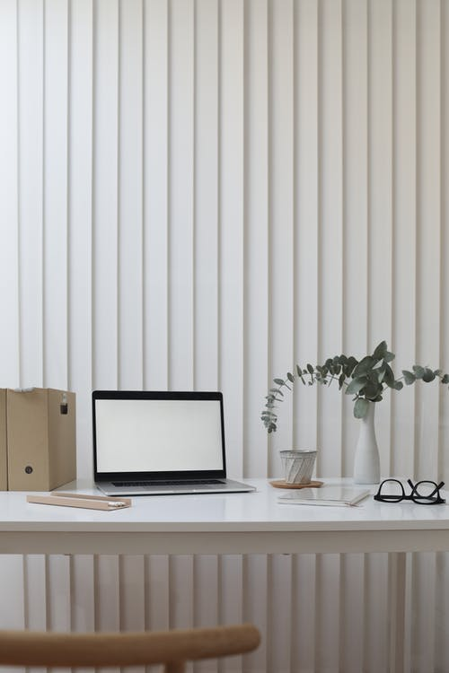 Contemporary workplace with netbook near plant in vase and cardboard folders on table
