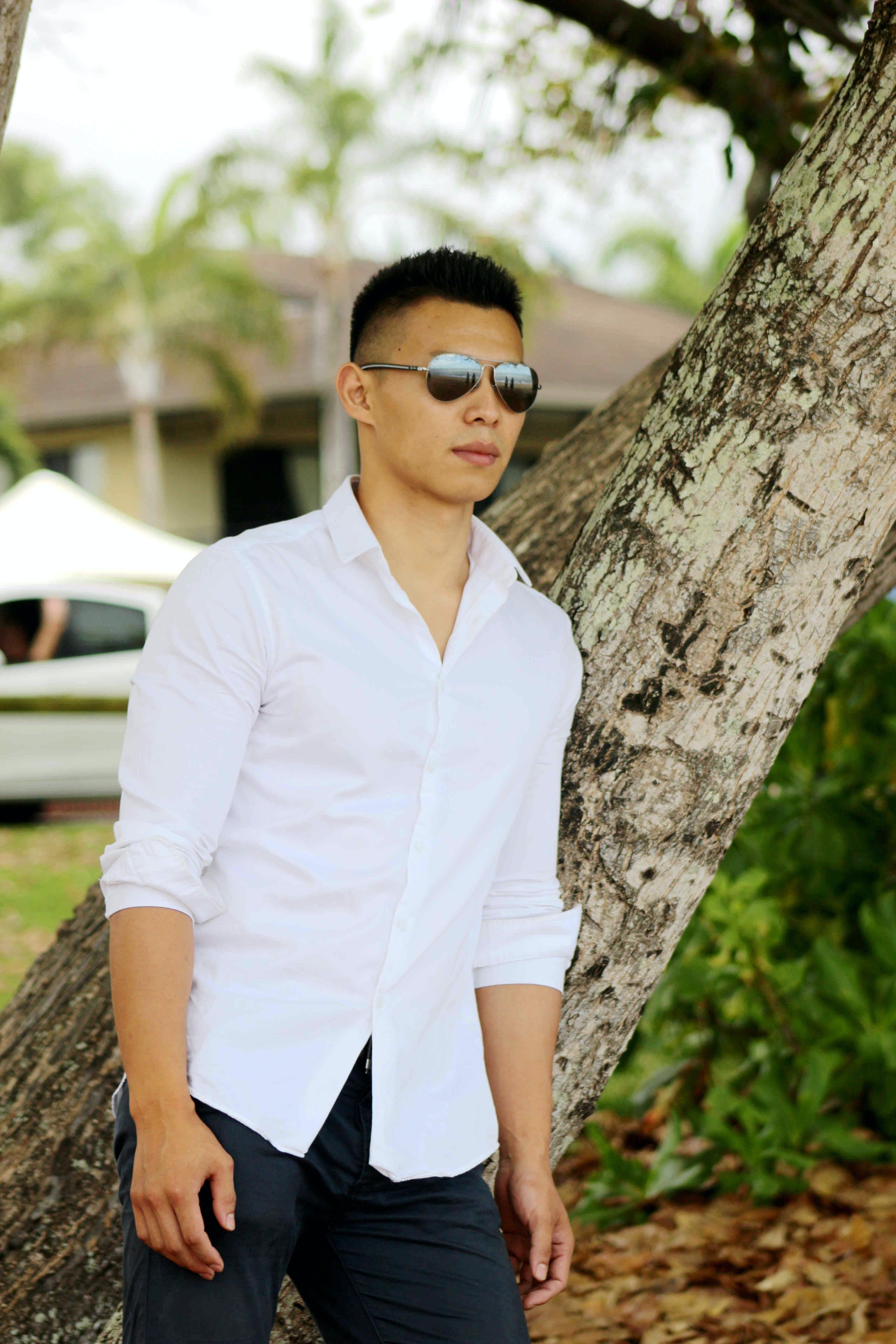 Free stock photo of male, sunglasses, white shir, young model