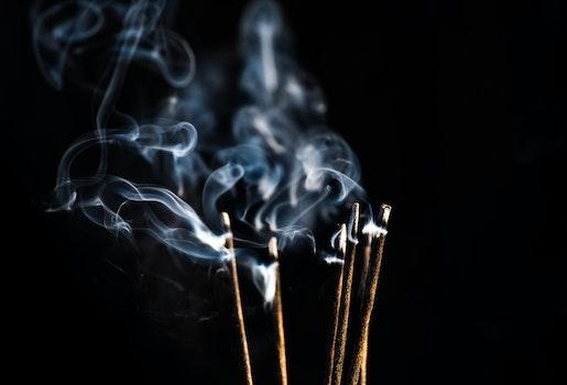 Free stock photo of black, smoke, incense, object