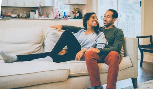 Happy black couple sitting on couch