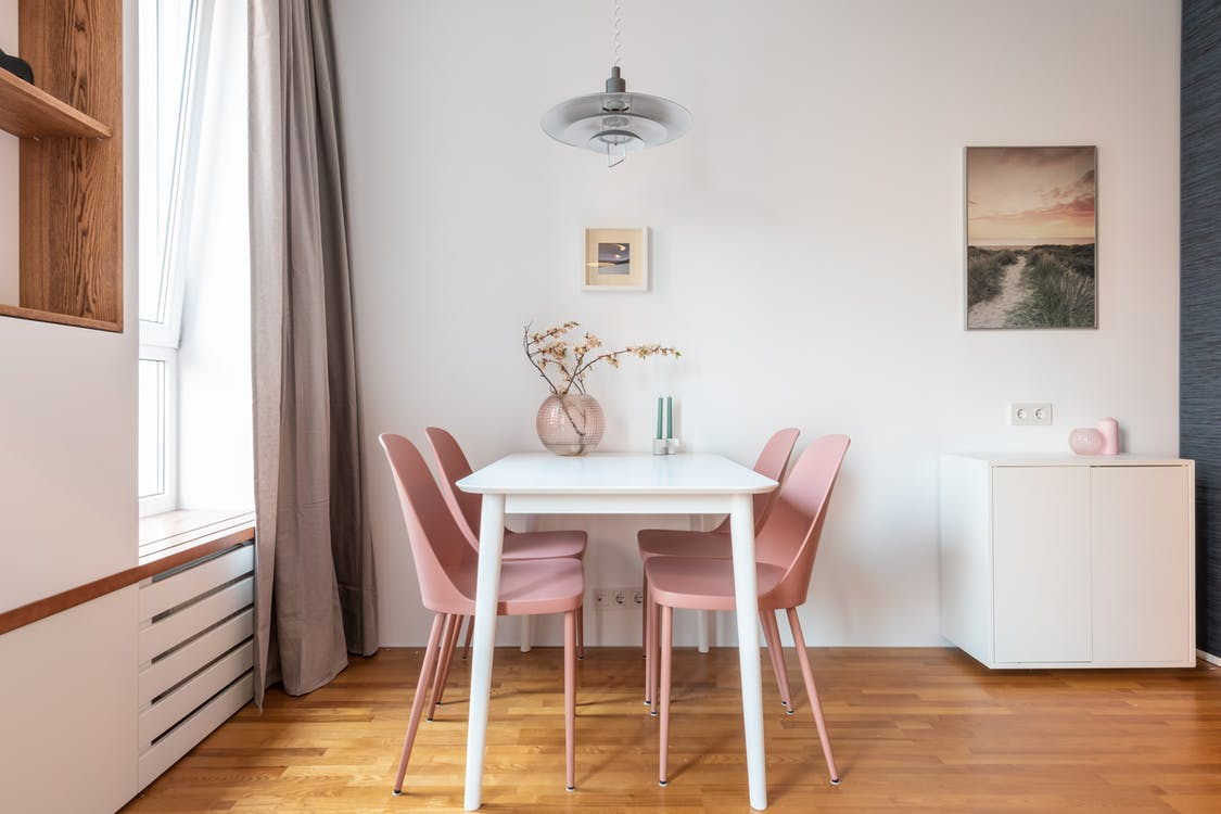 Comfortable room with contemporary interior with picture on wall and vase with plant on table in daytime