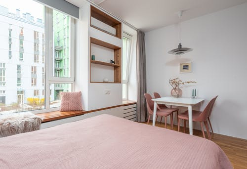 Interior of cozy bedroom at home