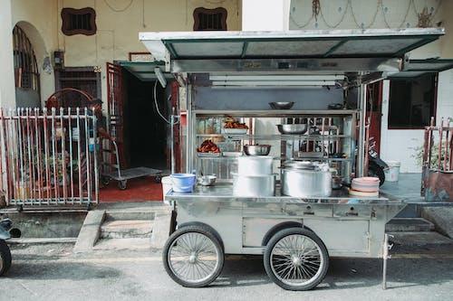 Metal food cart on street