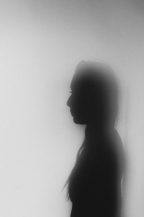 Black and white side view female shadow standing in misty blurred gray room