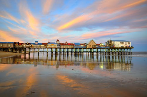 Houses on a Wooden Pier at the Coast