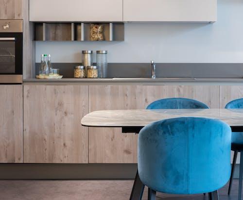 Interior of modern kitchen with furniture