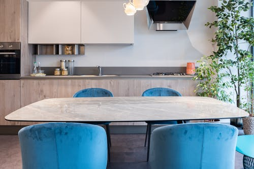 Interior of contemporary kitchen with furniture