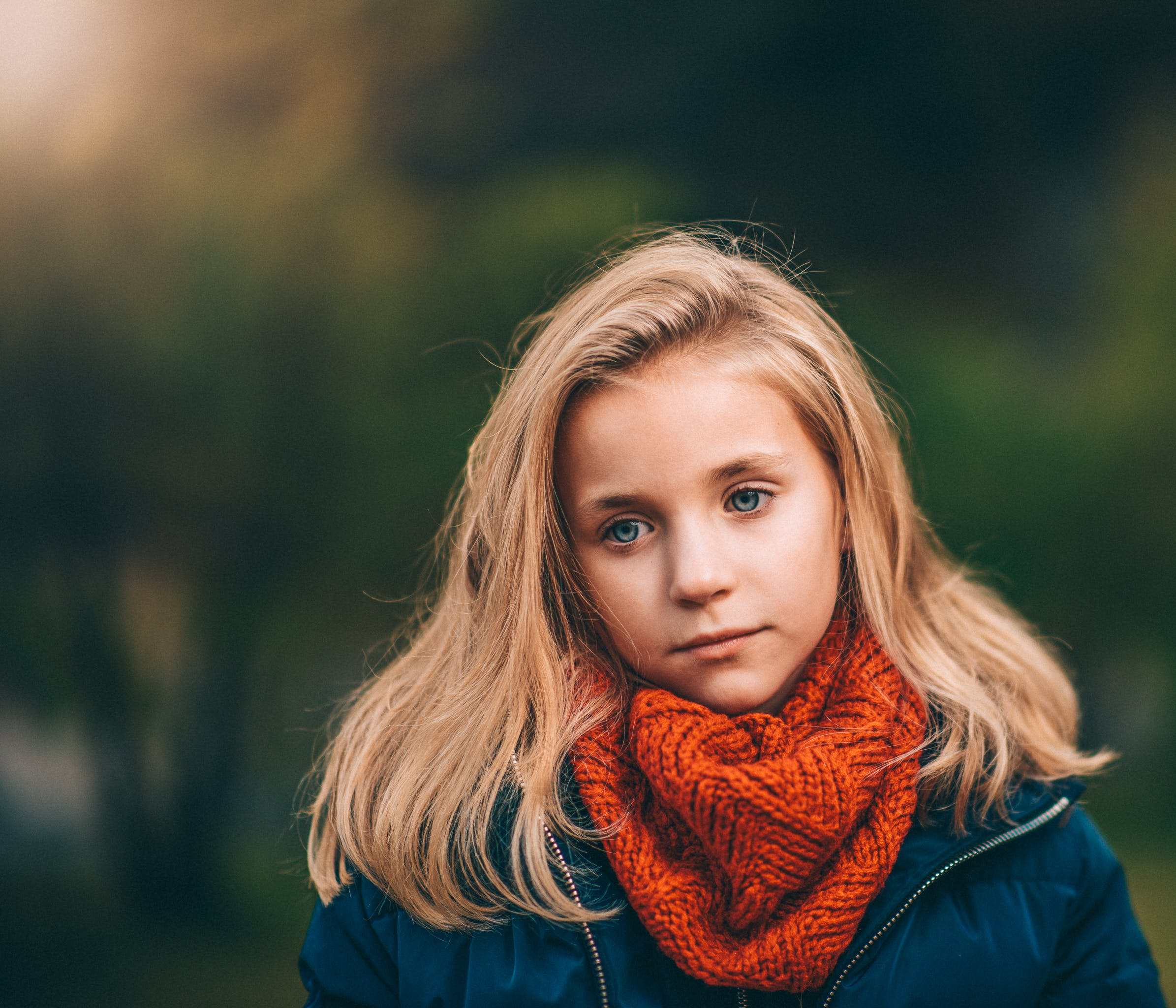 Girl Wearing Orange Scarf Selective Focus Photography