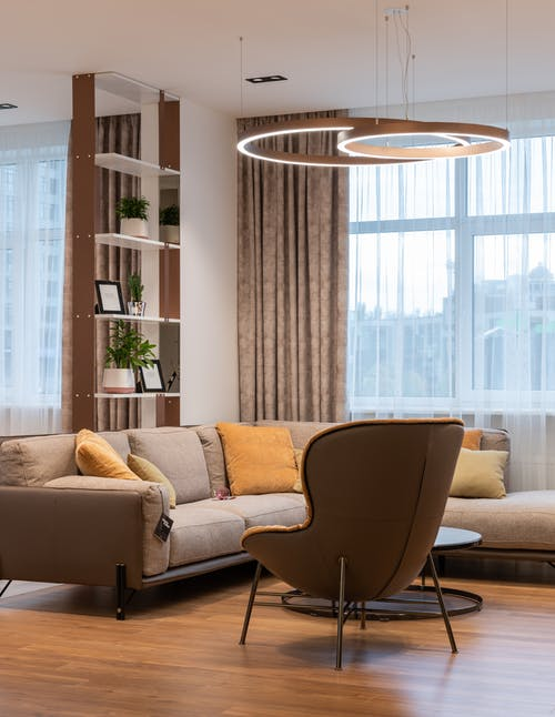 Modern living room interior with soft couch and pillows near armchair and round table near window with curtains and shelves with plants near lamp