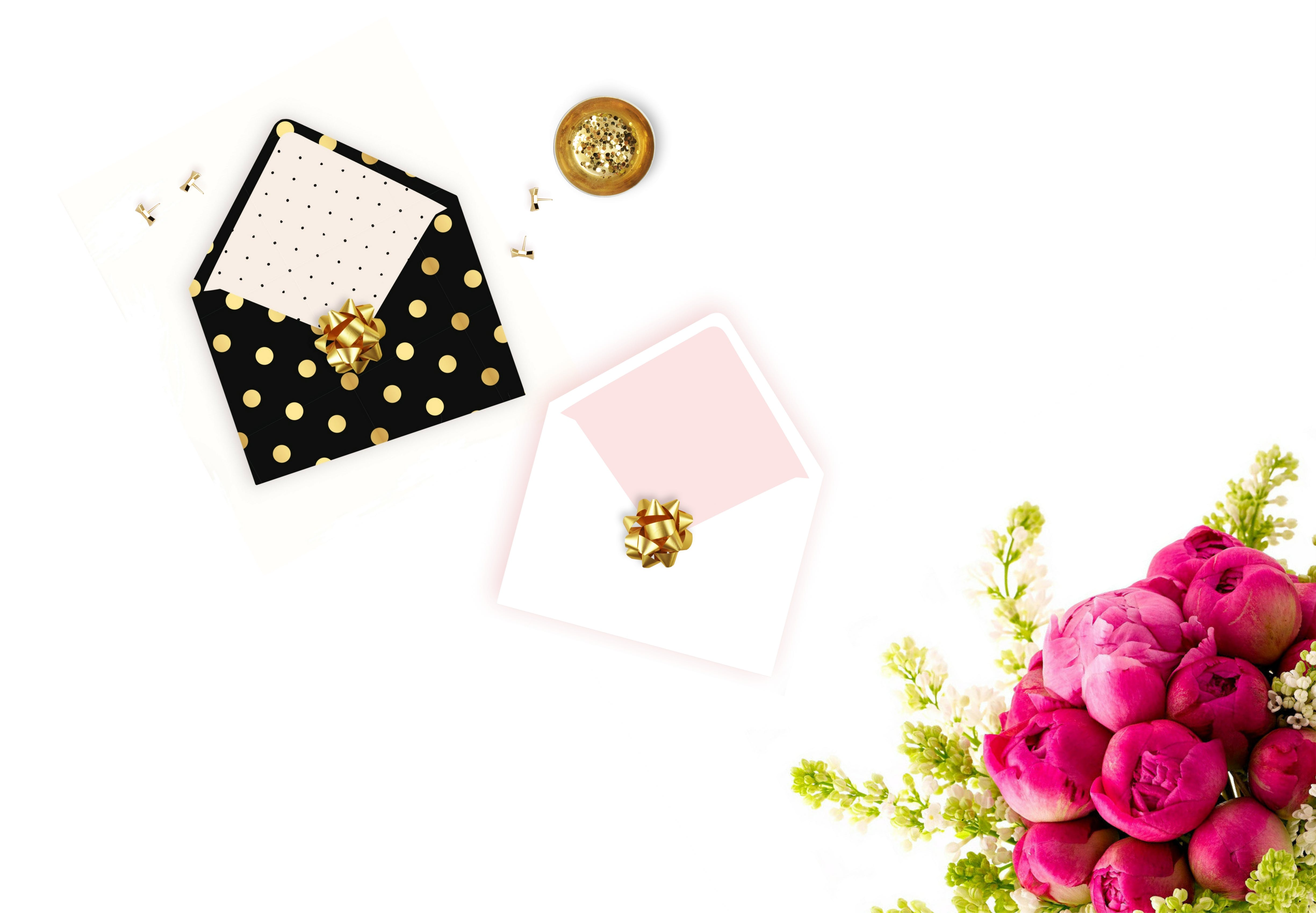 Free stock photo of flatlay, flowers, glam, pink