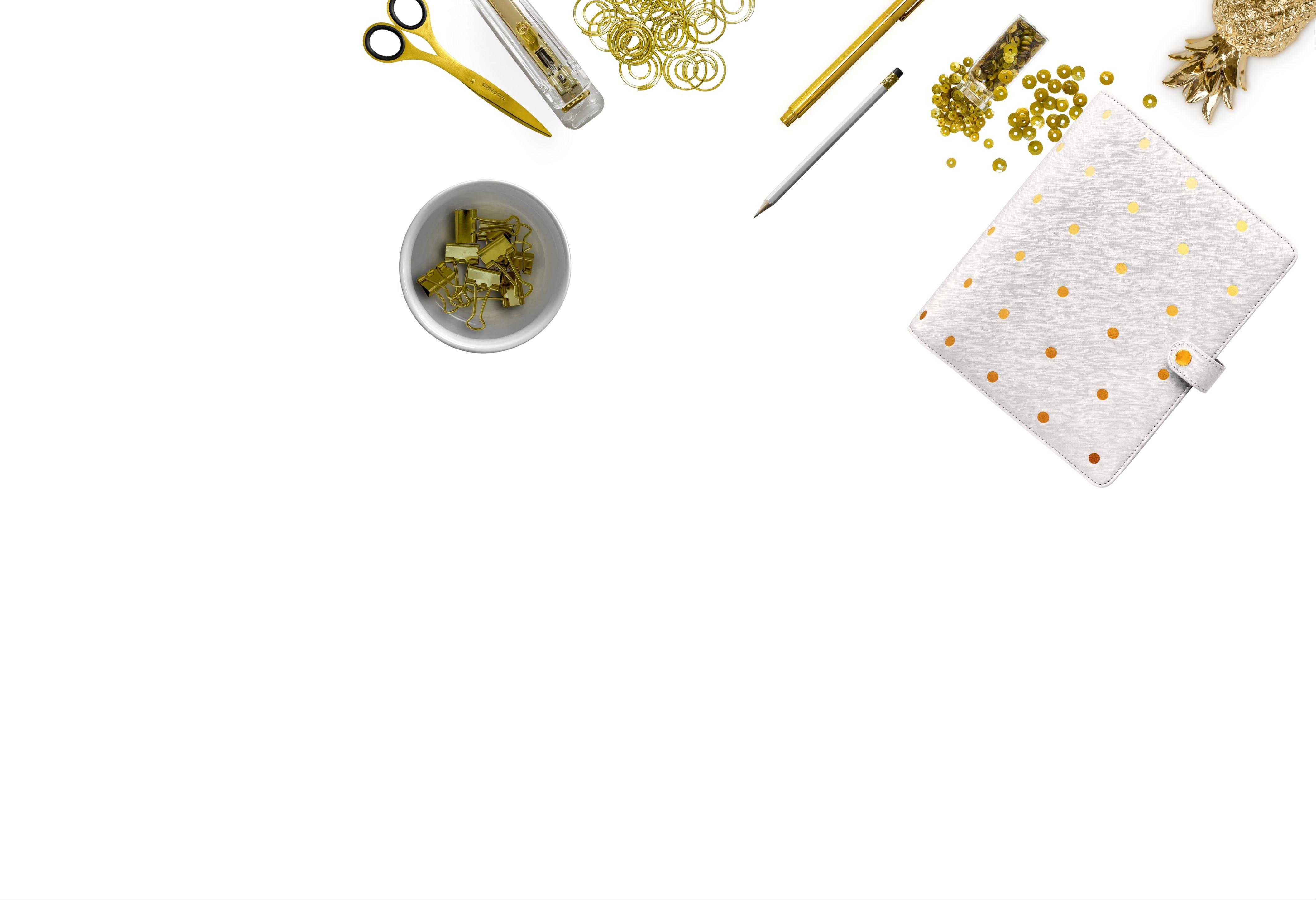 Kostenloses Stock Foto zu abbildung, design, flatlay, gold