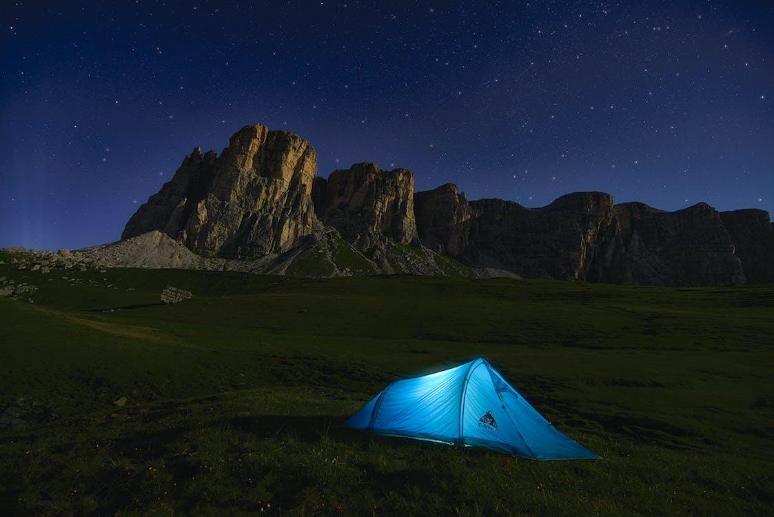 Blue Dome Tent Near Mountain