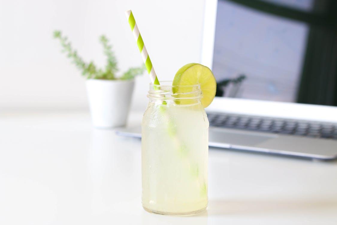 bærbar computer, citrusfrugt, close-up