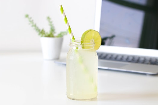 Free stock photo of laptop, drink, glass, blur