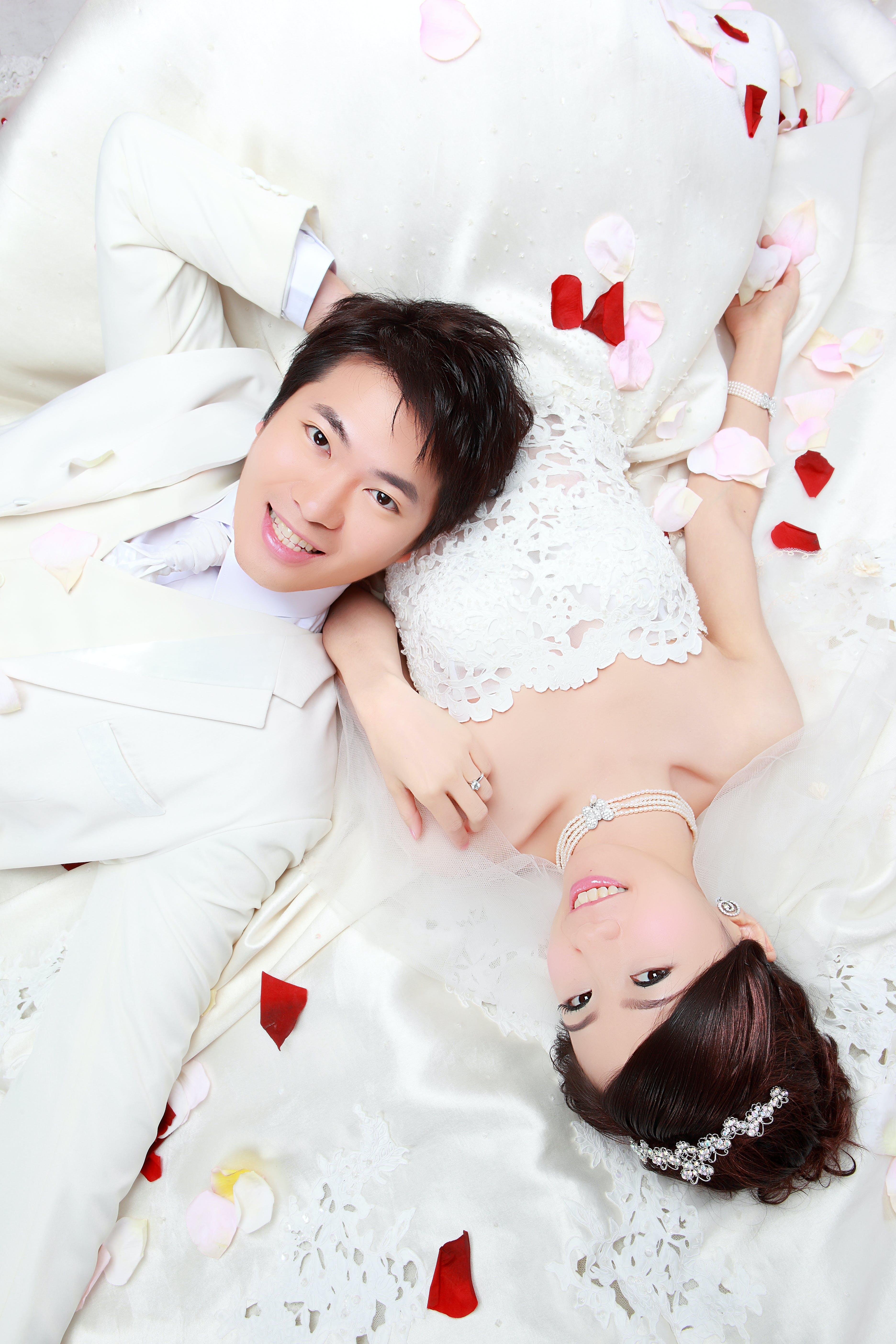 Free stock photo of happy couple, marriage, wedding, white dress
