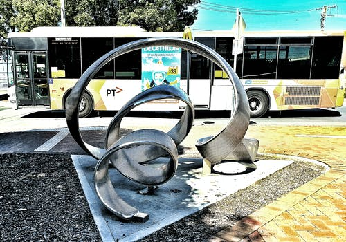 Free stock photo of bus, city art, metal art