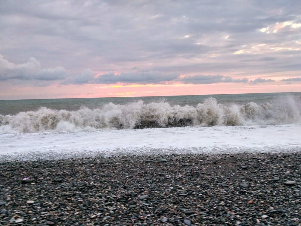 bouře, mořská pláž, počasí