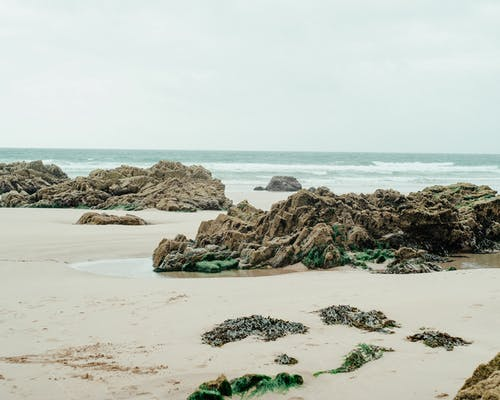 Picturesque scenery of rocky formations of various shapes on sandy beach near stormy ocean against overcast sky