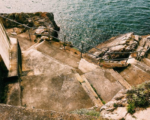 Stony shore near plants and steps with metal railing leading down to rippling sea in sunny summer day