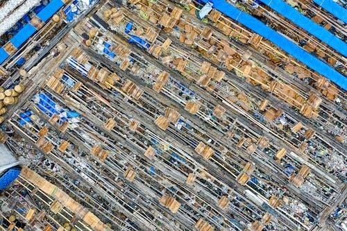 Carton boxes in rows in junkyard in slum