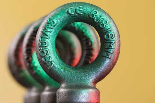 Forged round eye bolts in studio