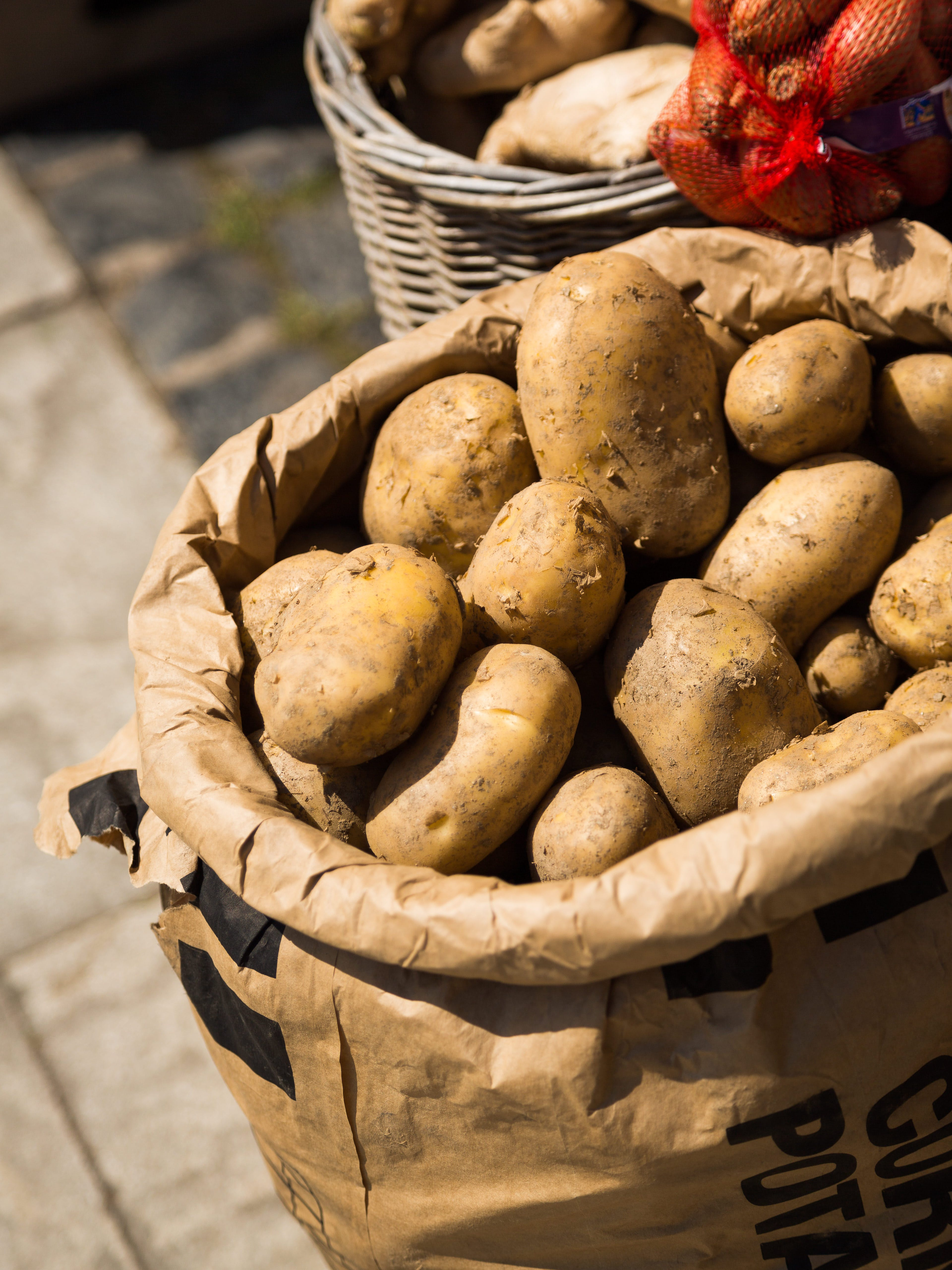 Free stock photo of food, greengrocer, potatoes, sack