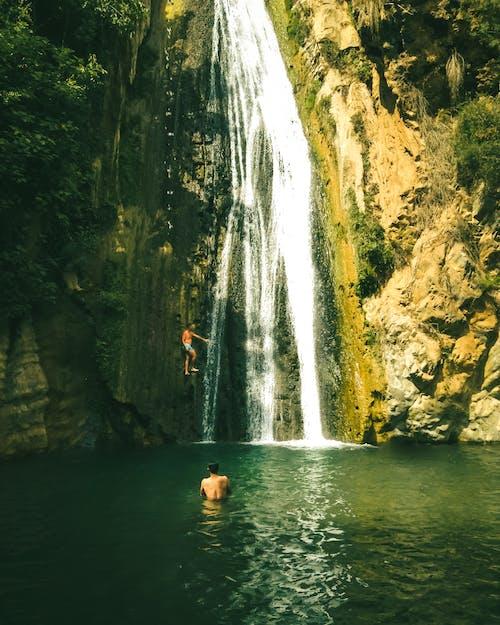 People Swimming on Water Falls