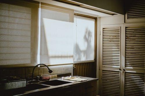 White Window Blinds on Kitchen Window