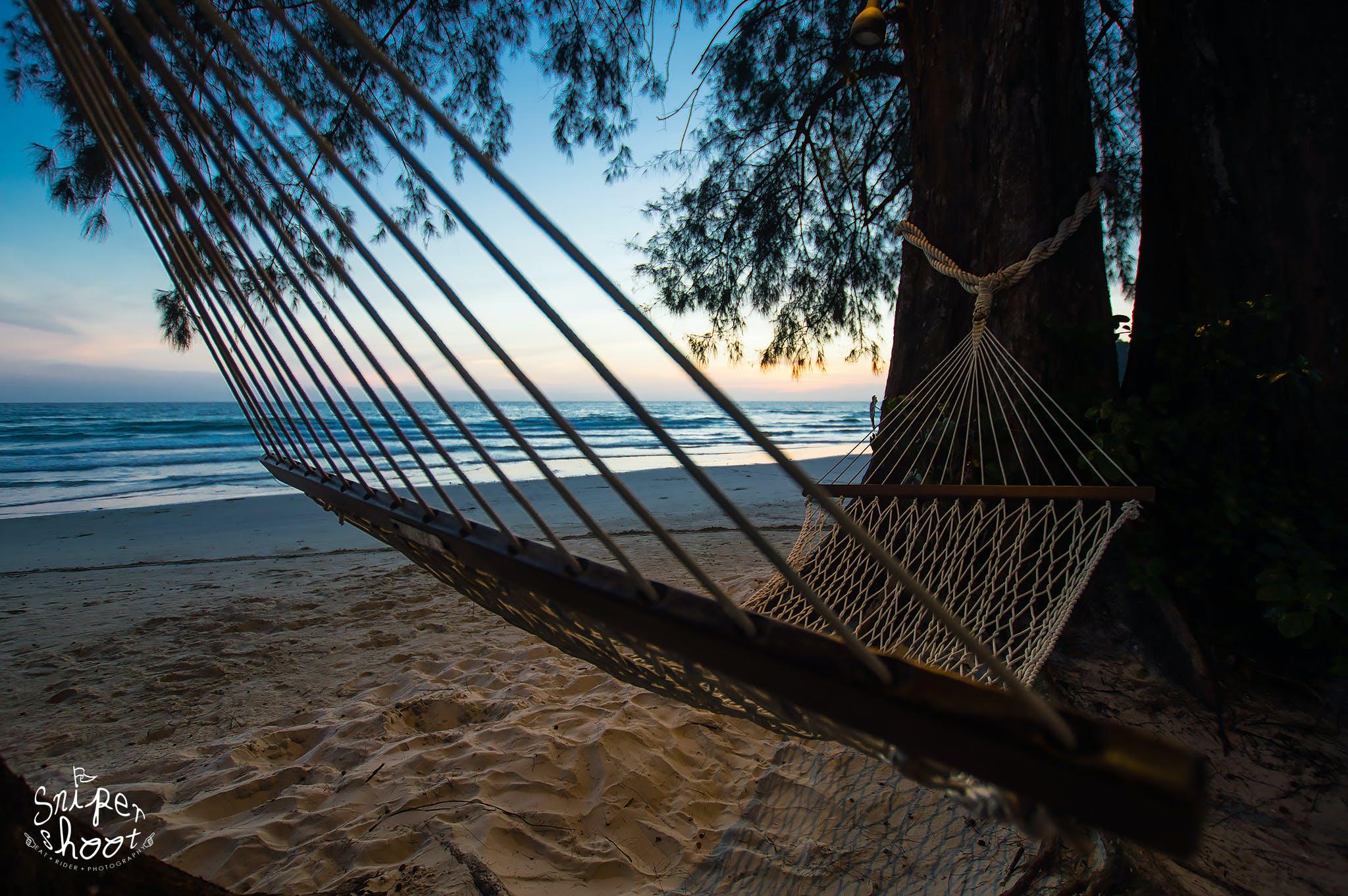 Kostenloses Stock Foto zu chillen, hängematten, sonnenuntergang, strand