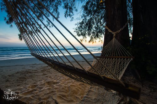 Free stock photo of beach, chill, hammocks, sunset