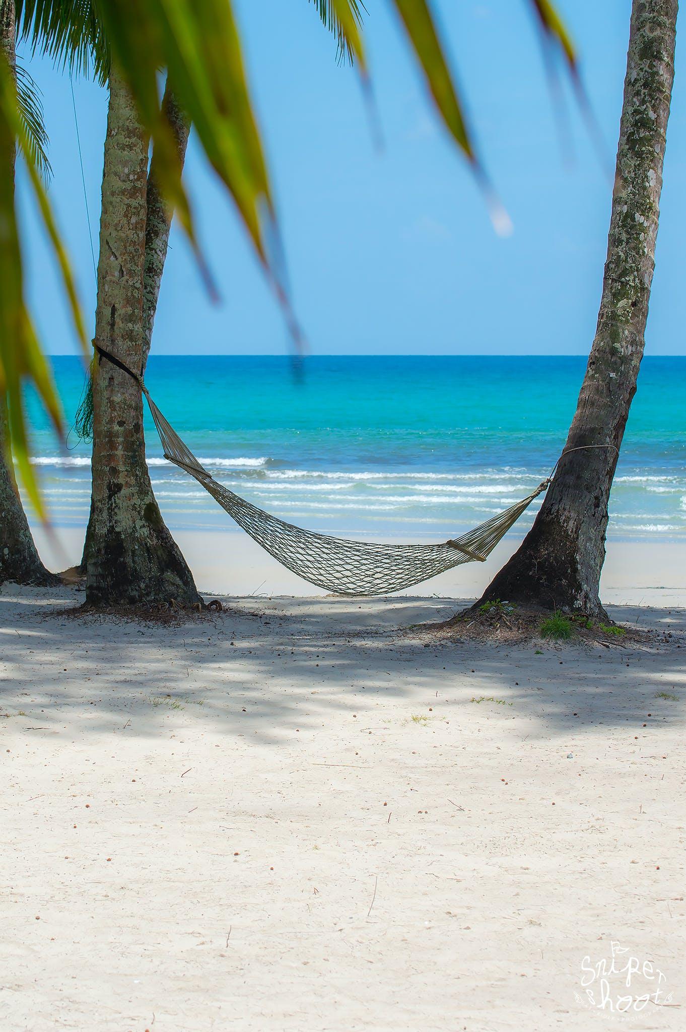 Kostenloses Stock Foto zu hängematten, meer, strand